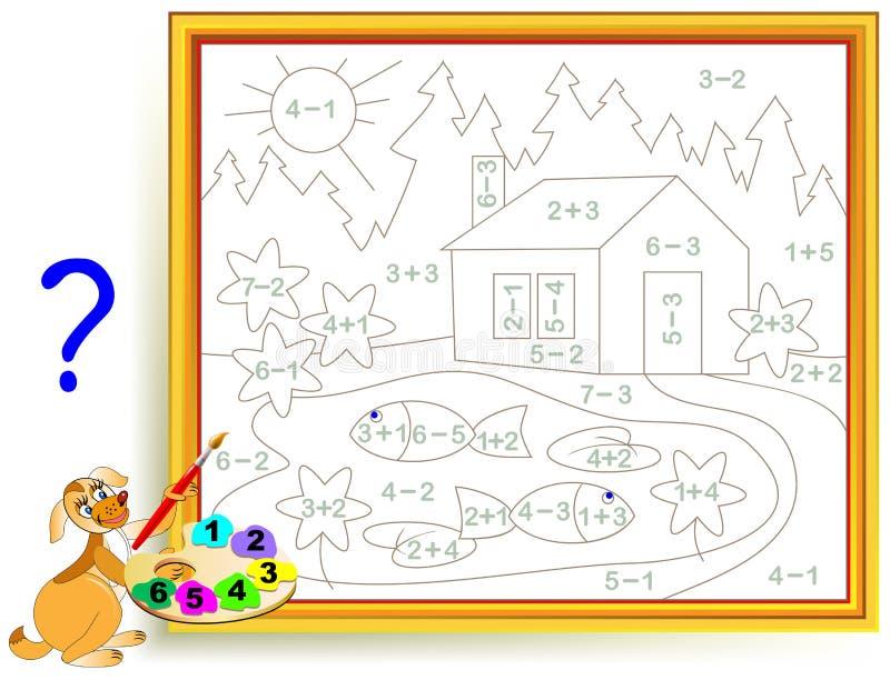Μαθηματικό φύλλο εργασίας για τα παιδιά στην προσθήκη και την αφαίρεση Ανάγκη να λυθούν τα παραδείγματα και να χρωματιστεί η εικό διανυσματική απεικόνιση