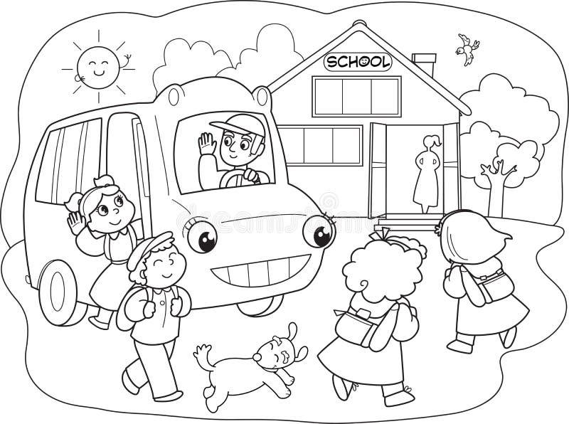 Μαθητές κινούμενων σχεδίων στο schoolbus ελεύθερη απεικόνιση δικαιώματος