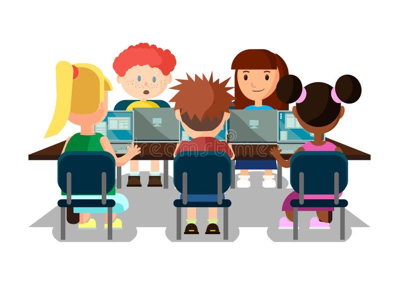 Μαθητές που μελετούν στην τάξη με το έμβλημα lap-top διανυσματική απεικόνιση