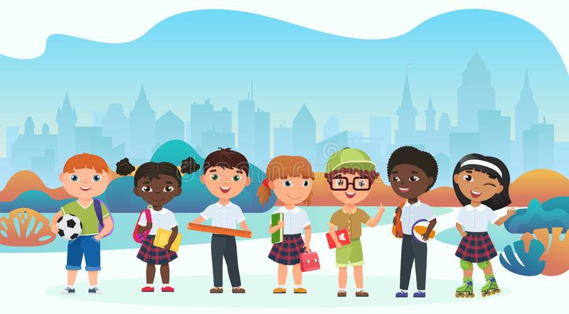 Μαθητές, μαθητές, χαριτωμένη επίπεδη διανυσματική απεικόνιση παιδιών ελεύθερη απεικόνιση δικαιώματος