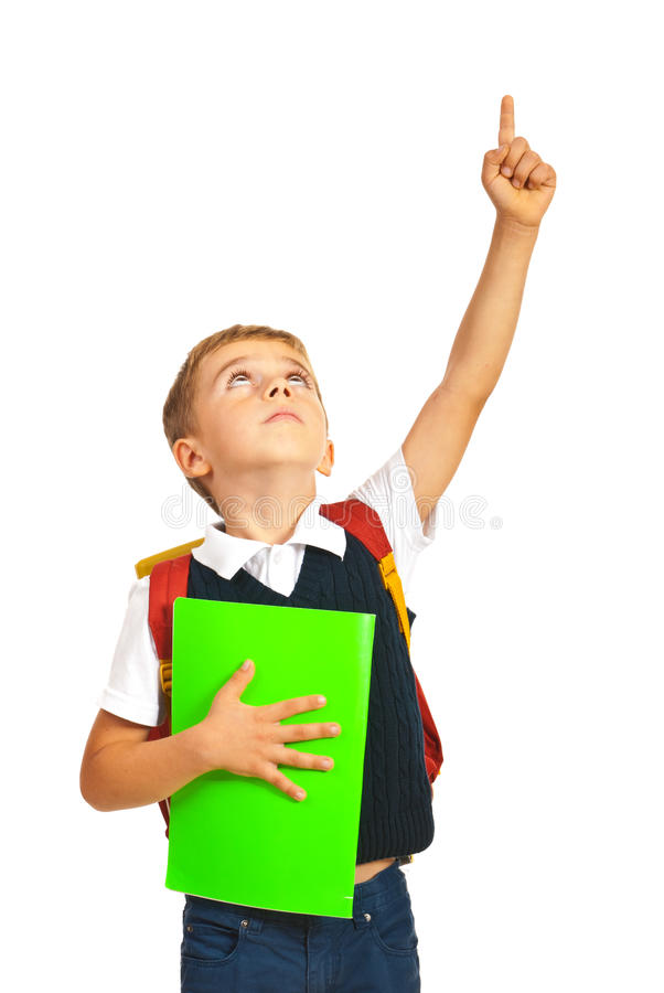 Μαθητής που δείχνει επάνω στοκ εικόνα
