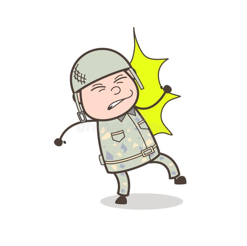 Μαθητής στρατιωτικής σχολής κινούμενων σχεδίων που αποκτάται βλαμμένος από τη διανυσματική απεικόνιση χτυπήματος απεικόνιση αποθεμάτων