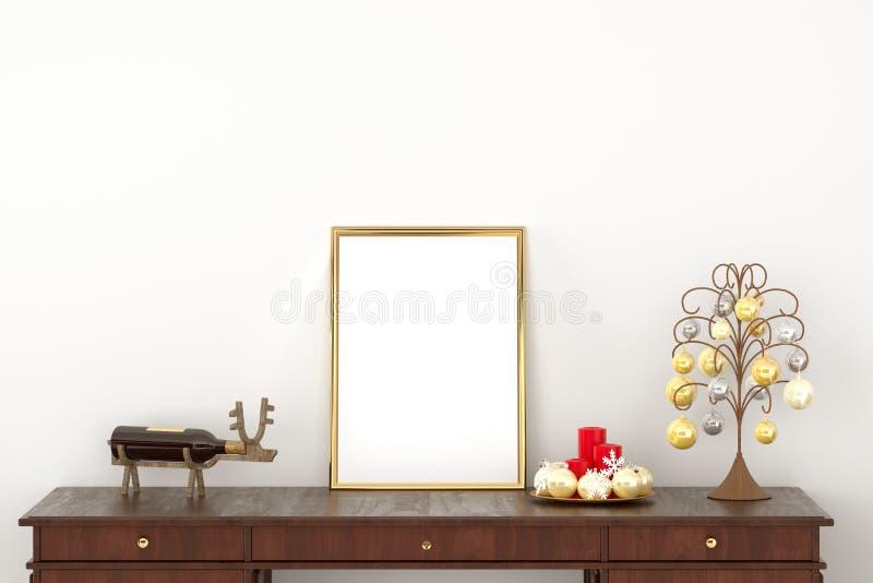 Μακέτα πάνω σε χρυσό πλαίσιο καμβά αφίσας στο γραφείο με κεριά και χρυσή ασημένια χριστουγεννιάτικη διακόσμηση Φόντο λευκού τοίχο διανυσματική απεικόνιση