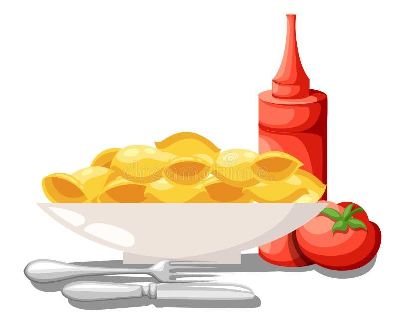 Μακαρονιών καθορισμένη ζυμαρικών σάλτσα ντοματών τροφίμων συλλογής ιταλική, κέτσαπ στο βάζο με το λαχανικό Διανυσματική απεικόνισ διανυσματική απεικόνιση