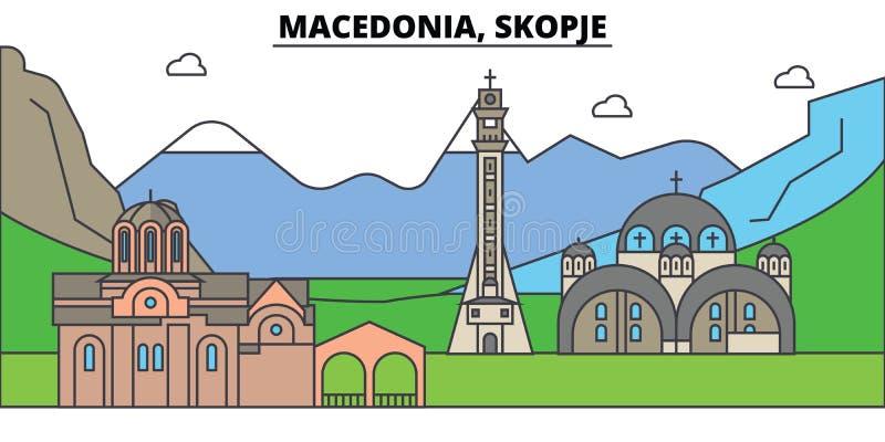 Μακεδονία, Σκόπια, βουνό Ορίζοντας πόλεων, αρχιτεκτονική, κτήρια, οδοί, σκιαγραφία, τοπίο, πανόραμα, ορόσημα ελεύθερη απεικόνιση δικαιώματος