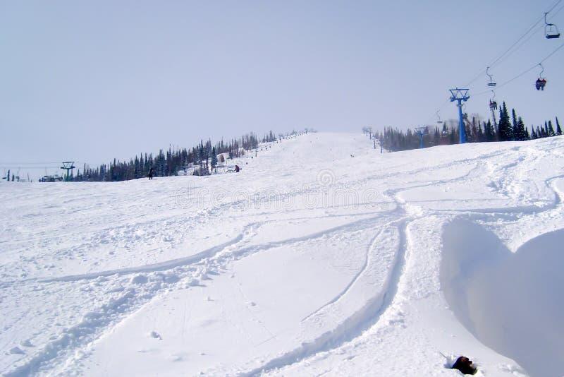 Μακριά διαδρομή ανελκυστήρων καρεκλών κατά μήκος μιας κλίσης σκι στοκ εικόνα με δικαίωμα ελεύθερης χρήσης