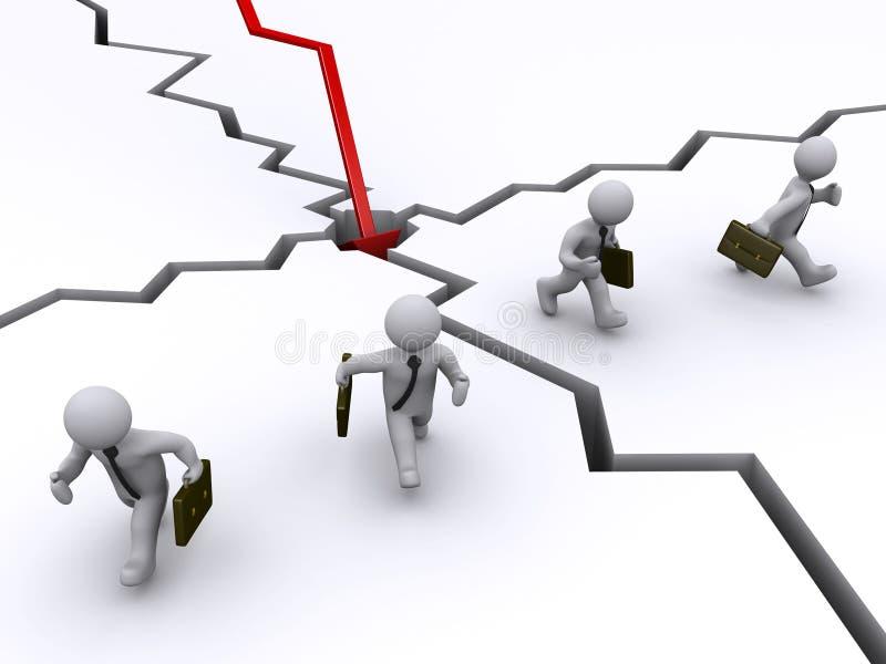 μακριά οι επιχειρηματίες συντρίβουν το τρέξιμο γραφικών παραστάσεων διανυσματική απεικόνιση