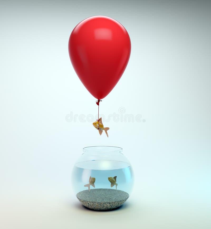μακριά πετώντας χρυσός ψαριών στοκ φωτογραφία