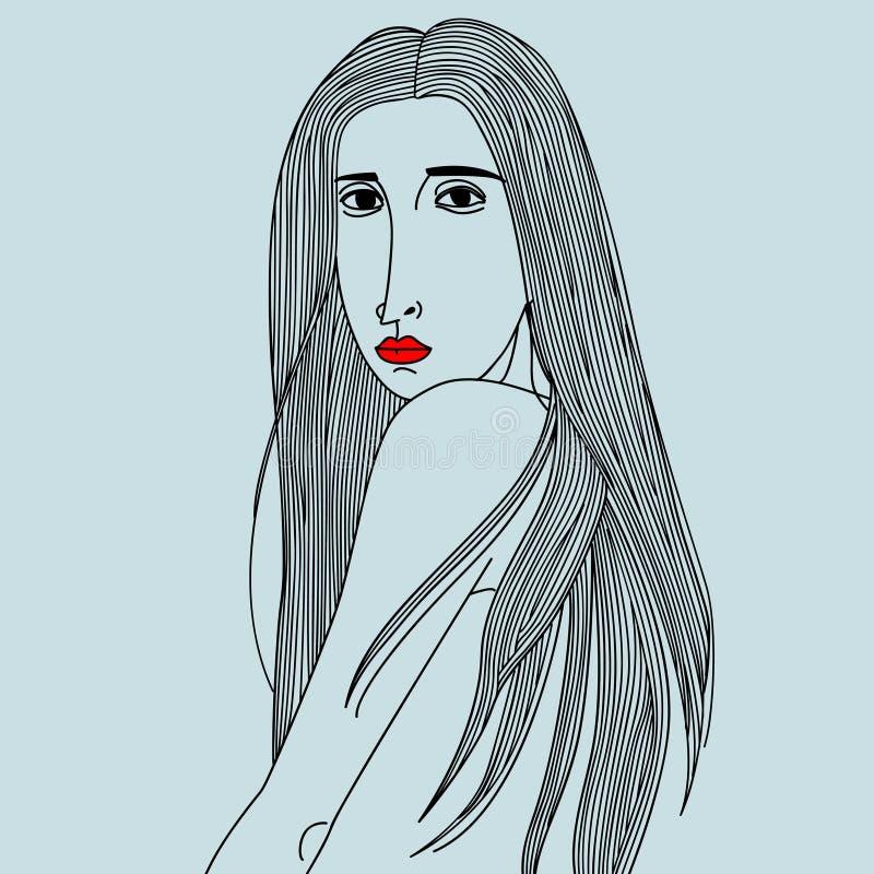μακριές γυναίκες τριχώματ απεικόνιση αποθεμάτων