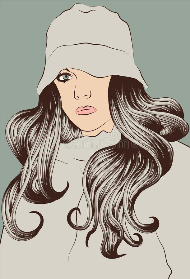 μακριές νεολαίες γυναι&k απεικόνιση αποθεμάτων