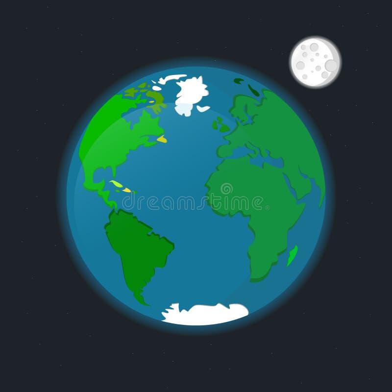 Μακρινού διαστήματος διανυσματική απεικόνιση αστεριών φεγγαριών πλανήτη Γη δορυφορική διανυσματική απεικόνιση