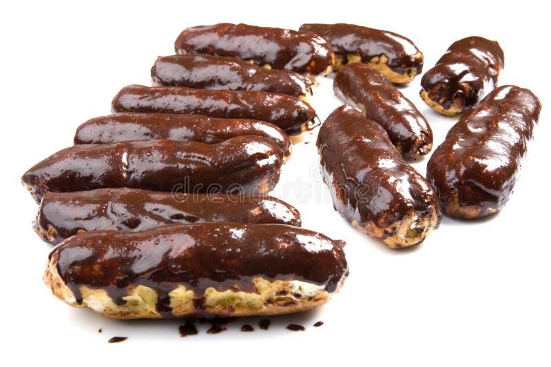 μακροεντολή ECLAIR σοκολάτα& στοκ φωτογραφία