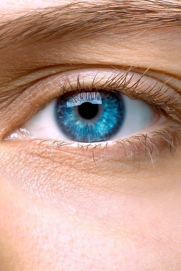 Μακροεντολή του μπλε ματιού μιας γυναίκας στοκ εικόνα