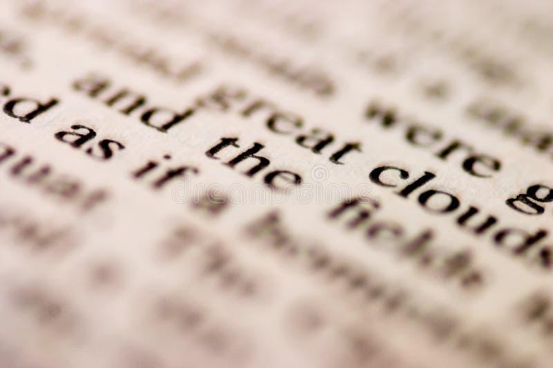 Μακροεντολή των τυπωμένων λέξεων στοκ φωτογραφίες με δικαίωμα ελεύθερης χρήσης