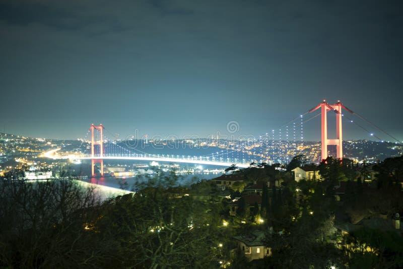 Μακροχρόνια έκθεση γεφυρών Bosphorus στοκ εικόνες