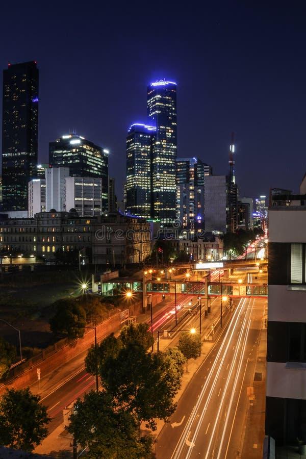 Μακροχρόνια έκθεση νύχτας της Μελβούρνης στοκ εικόνα