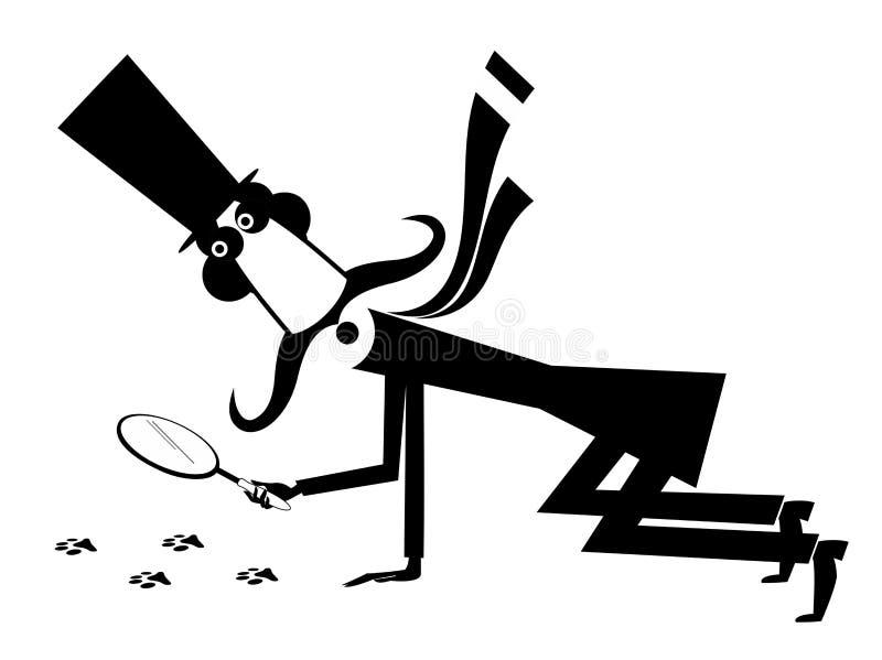 Μακροχρόνια απεικόνιση ιδιωτικών αστυνομικών mustache κινούμενων σχεδίων απεικόνιση αποθεμάτων