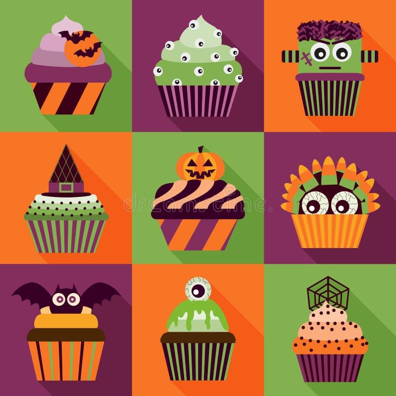 Μακροχρόνια εικονίδια σκιών αποκριών Cupcakes απεικόνιση αποθεμάτων
