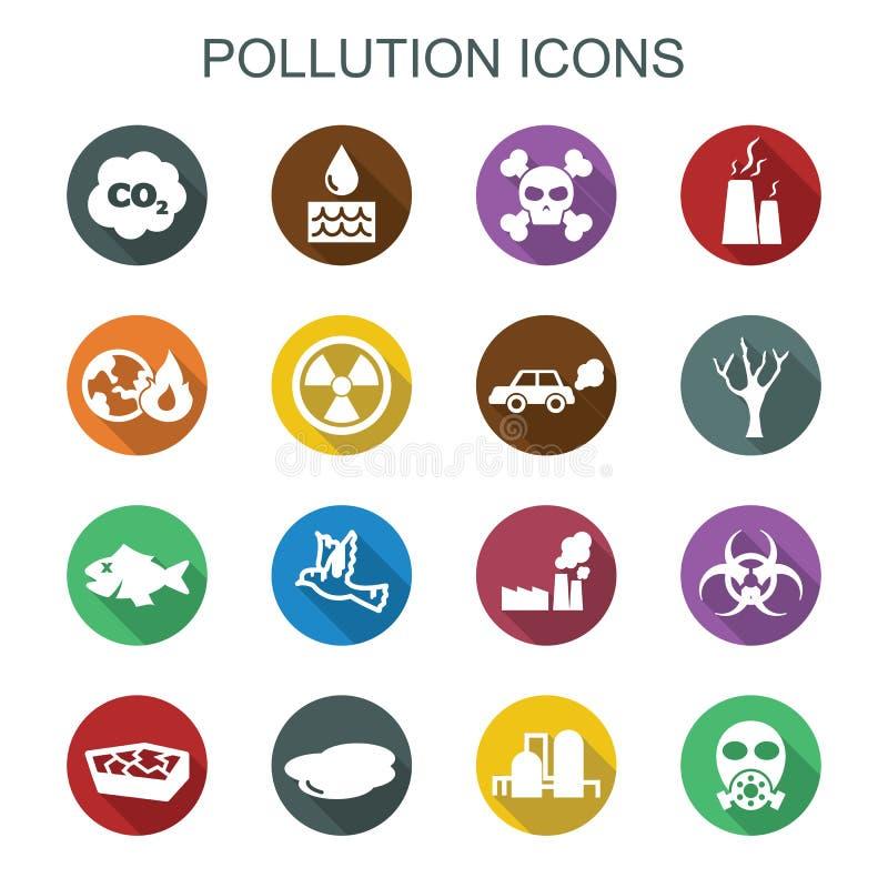 Μακροχρόνια εικονίδια σκιών ρύπανσης ελεύθερη απεικόνιση δικαιώματος
