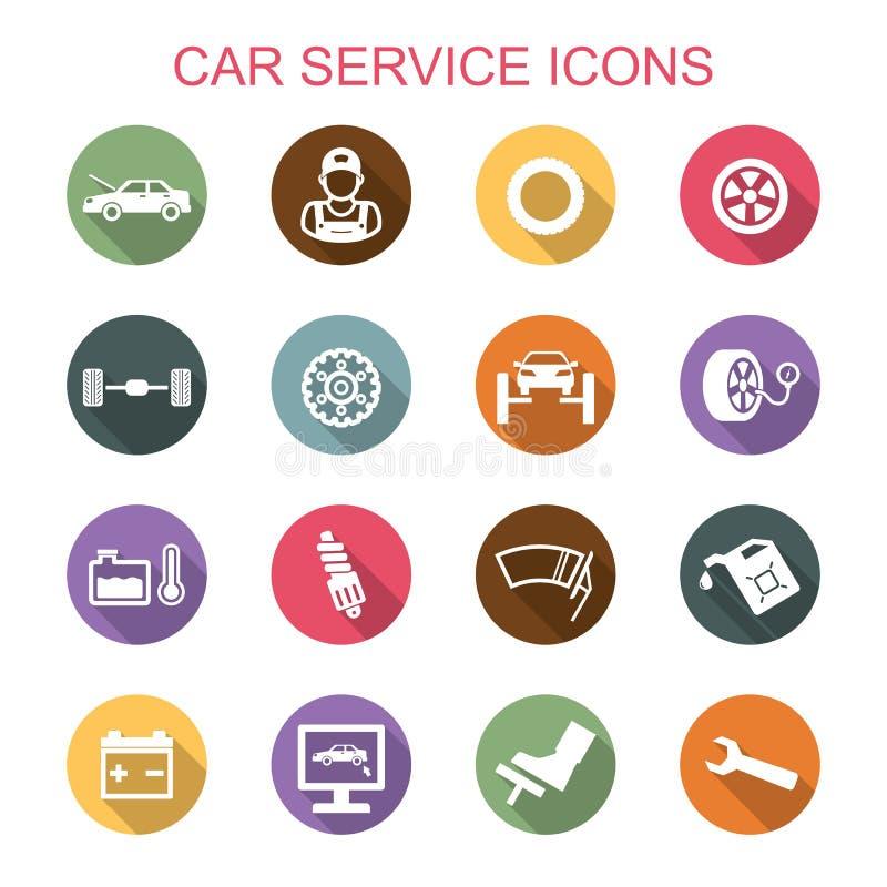 Μακροχρόνια εικονίδια σκιών υπηρεσιών αυτοκινήτων διανυσματική απεικόνιση