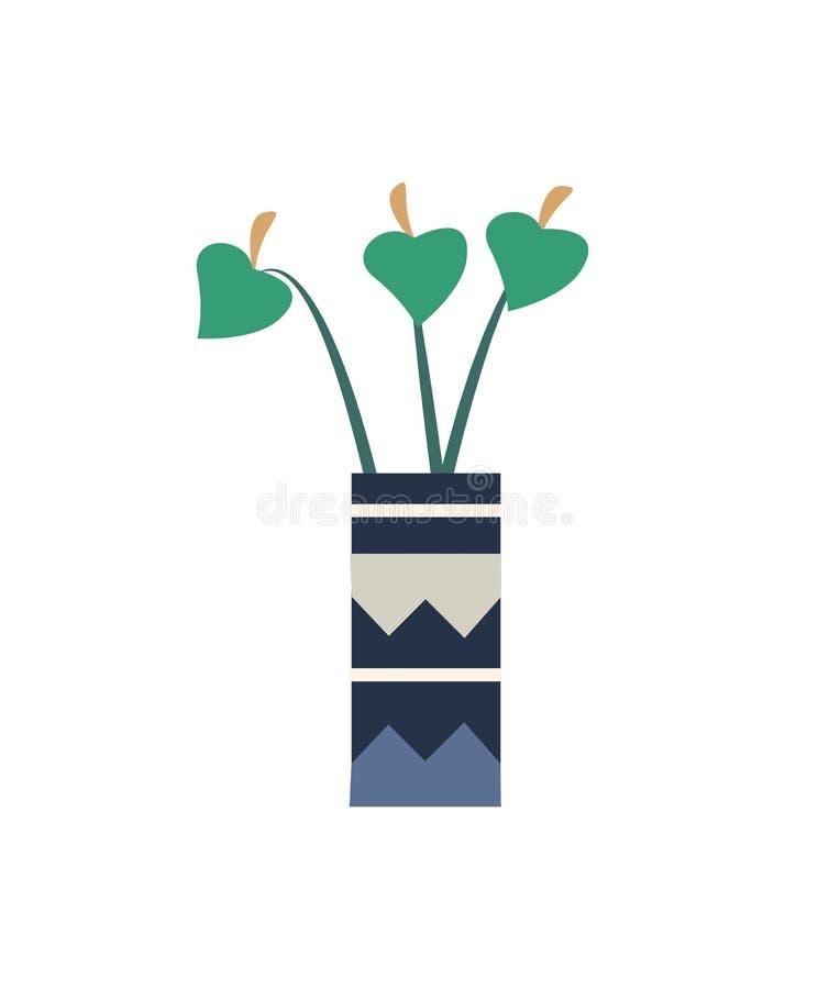 Μακροχρόνιοι μίσχοι και φύλλωμα Houseplant Χλωρίδα βοτανικής διανυσματική απεικόνιση