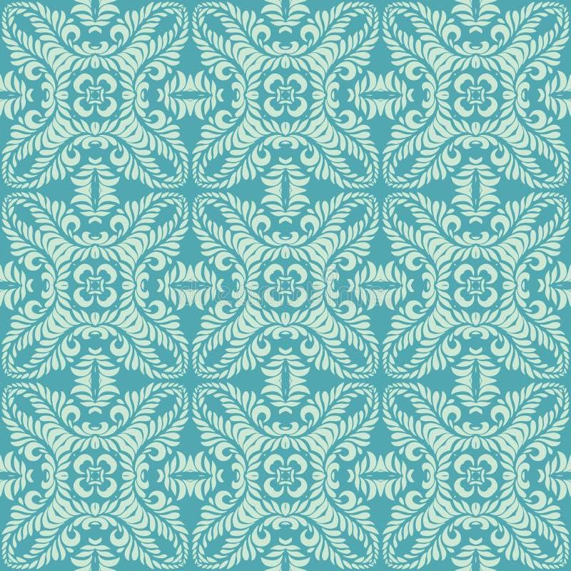 Μακροχρόνιο άδειας υπόβαθρο σχεδίων πετάλων άνευ ραφής στον μπλε τόνο διανυσματική απεικόνιση