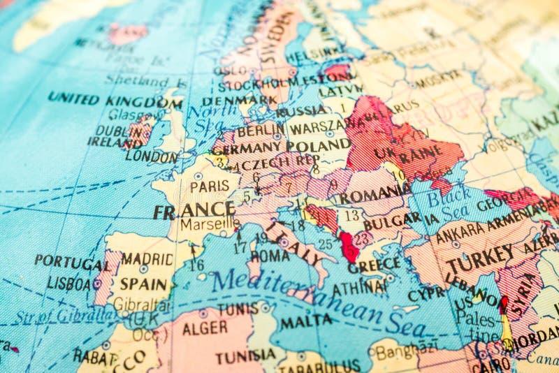 Μακρο εικόνα ενός χάρτη της Ευρώπης στοκ φωτογραφία