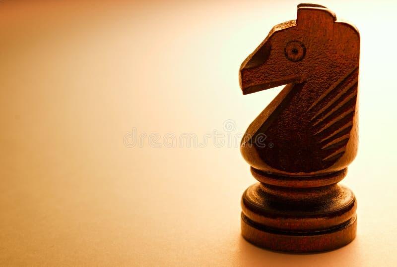 Μακρο ξύλινο κομμάτι σκακιού αλόγων στοκ φωτογραφίες