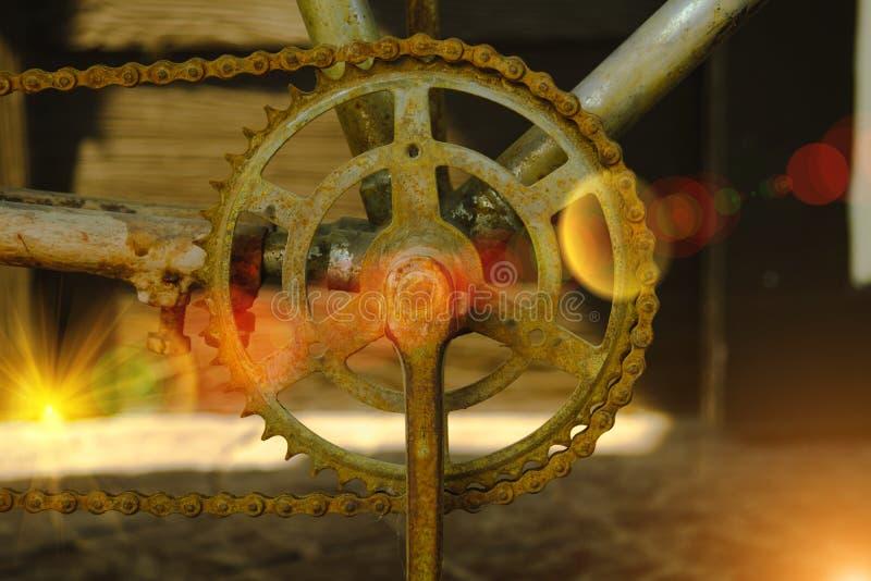 Μακρο πυροβολισμός κάποιας παλαιάς σκουριασμένης αλυσίδας ποδηλάτων στοκ εικόνα με δικαίωμα ελεύθερης χρήσης