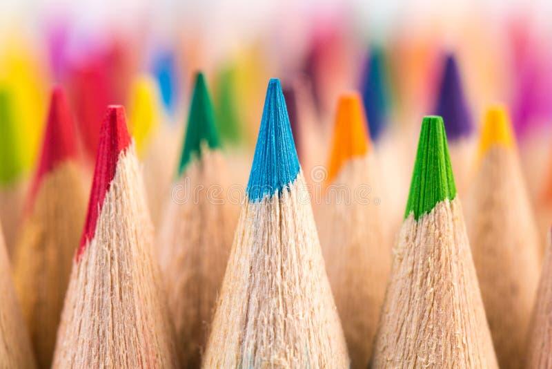 Μακρο πυροβολισμός nibs μολυβιών χρώματος στοκ εικόνες