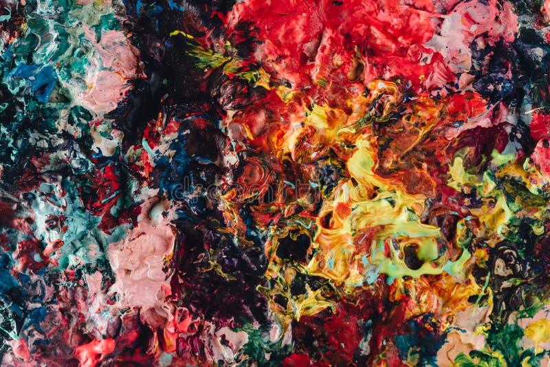 Μακρο στενός επάνω του διαφορετικού ελαιοχρώματος χρώματος ζωηρόχρωμος ακρυλικός Έννοια σύγχρονης τέχνης στοκ φωτογραφία