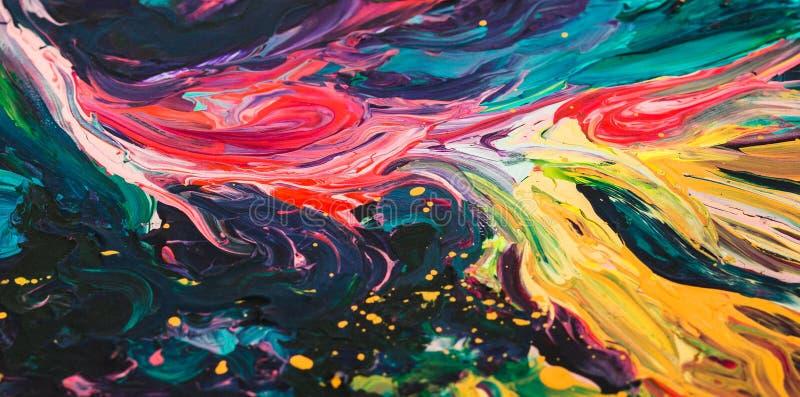 Μακρο στενός επάνω του διαφορετικού ελαιοχρώματος χρώματος ζωηρόχρωμος ακρυλικός Έννοια σύγχρονης τέχνης ελεύθερη απεικόνιση δικαιώματος