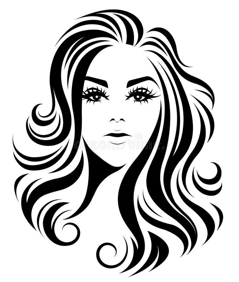 Μακρυμάλλες εικονίδιο ύφους γυναικών, γυναίκες λογότυπων στο άσπρο υπόβαθρο διανυσματική απεικόνιση
