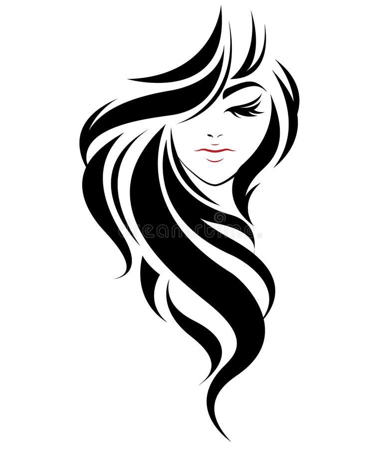 Μακρυμάλλες εικονίδιο ύφους γυναικών, γυναίκες λογότυπων στο άσπρο υπόβαθρο απεικόνιση αποθεμάτων