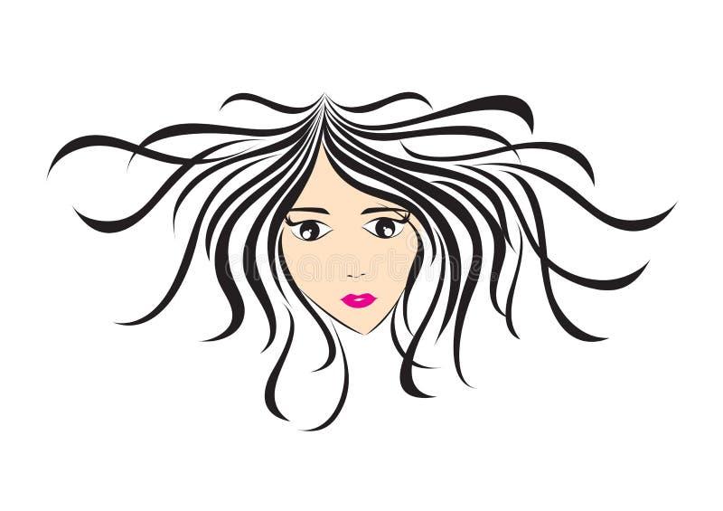 Μακρυμάλλες εικονίδιο ύφους γυναικών, πρόσωπο κοριτσιών, γυναίκες λογότυπων, σημάδι σαλονιών, κυρία ομορφιάς, SPA, κινούμενα σχέδ διανυσματική απεικόνιση