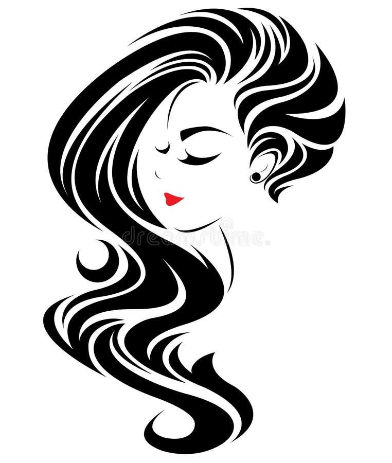 Μακρυμάλλες εικονίδιο ύφους γυναικών, πρόσωπο γυναικών λογότυπων στο άσπρο υπόβαθρο απεικόνιση αποθεμάτων