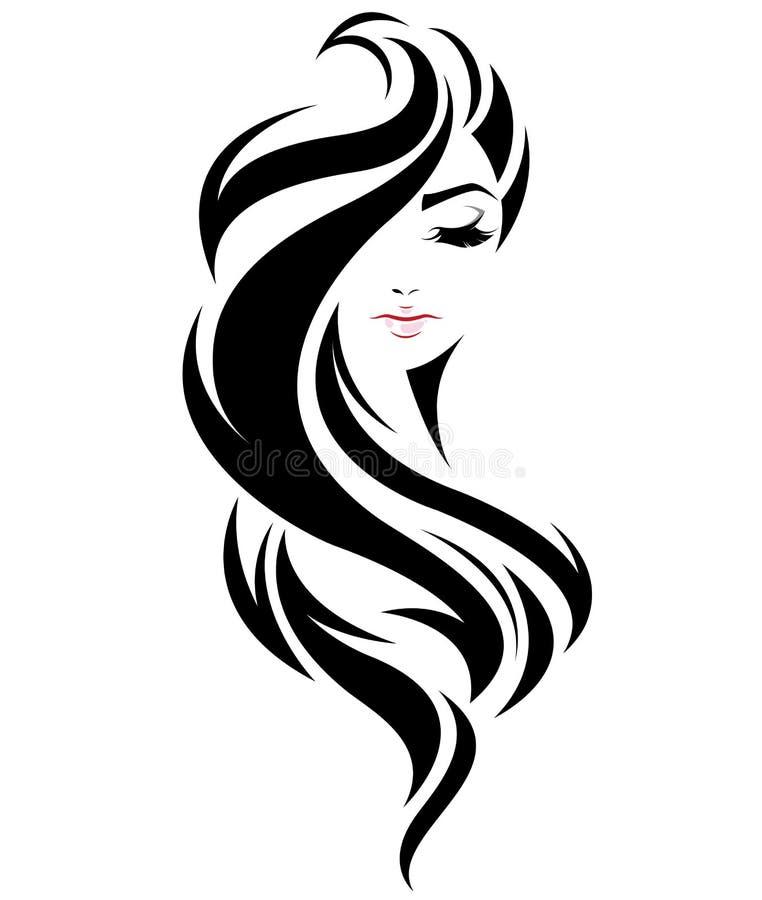 Μακρυμάλλες εικονίδιο ύφους γυναικών, πρόσωπο γυναικών λογότυπων στο άσπρο υπόβαθρο ελεύθερη απεικόνιση δικαιώματος