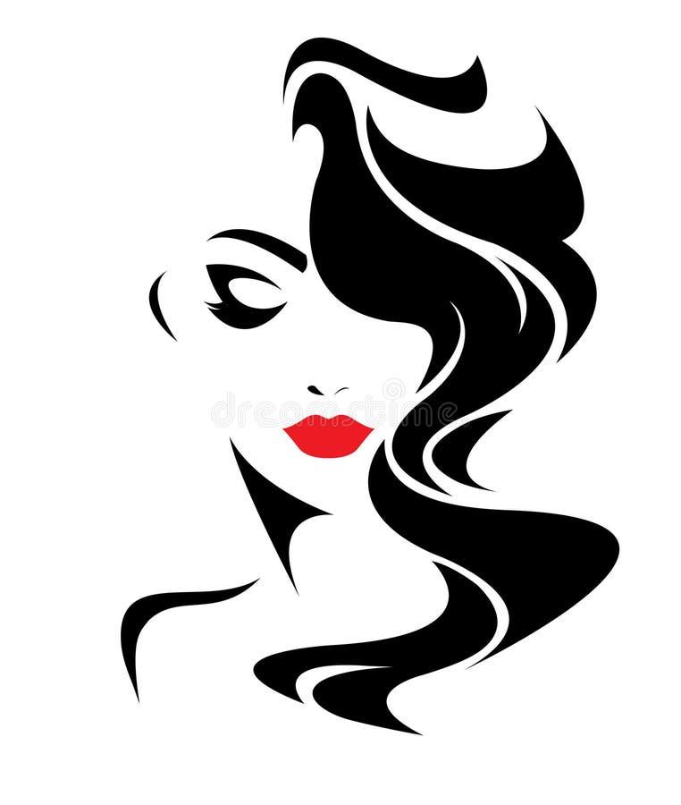 Μακρυμάλλες εικονίδιο ύφους γυναικών, πρόσωπο γυναικών λογότυπων διανυσματική απεικόνιση