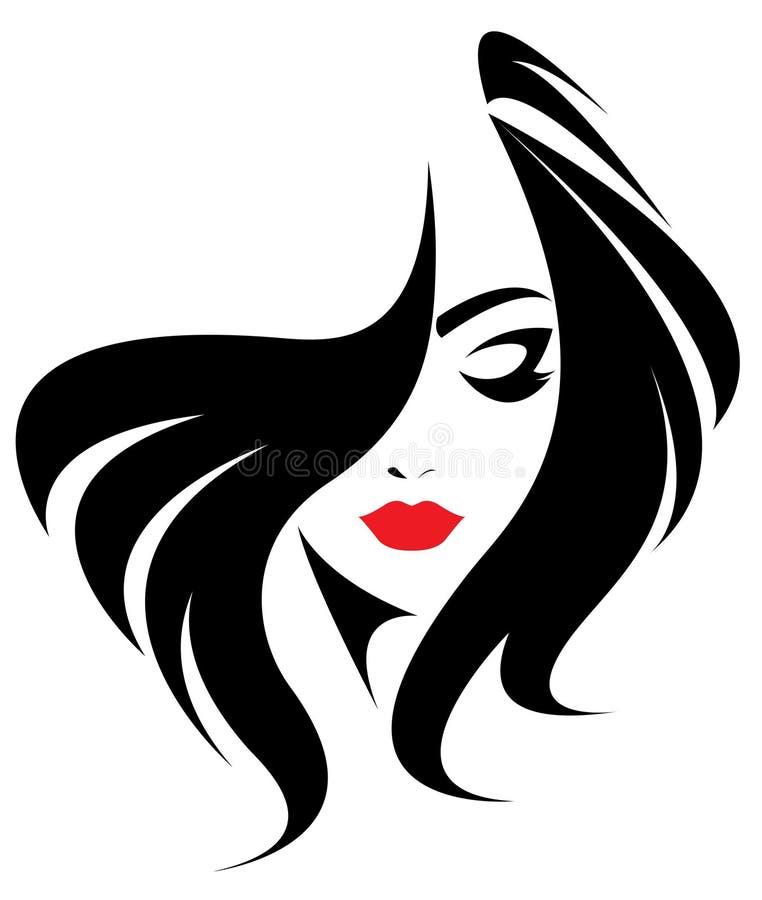 Μακρυμάλλες εικονίδιο ύφους, πρόσωπο γυναικών λογότυπων στο άσπρο υπόβαθρο απεικόνιση αποθεμάτων