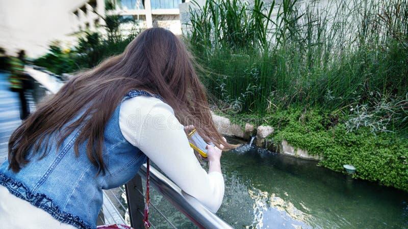 Μακρυμάλλες κορίτσι με ένα smartphone στοκ φωτογραφίες