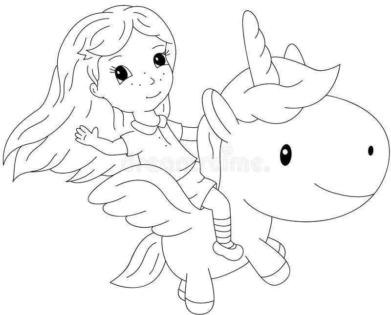 Μακρυμάλλες κορίτσι που πετά σε έναν μονόκερο νεράιδων ελεύθερη απεικόνιση δικαιώματος
