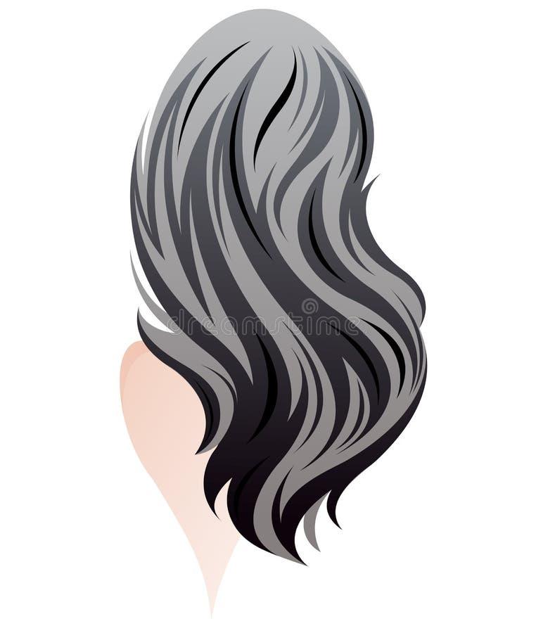 Μακρυμάλλες ύφος γυναικών, γυναίκες πίσω στο άσπρο υπόβαθρο διανυσματική απεικόνιση