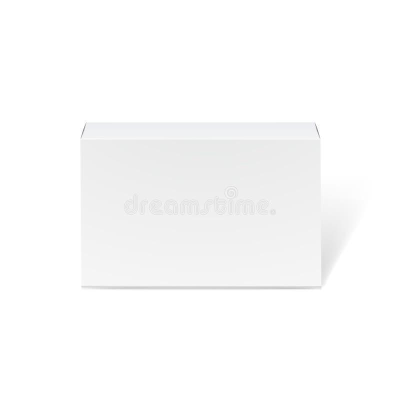 Μακρύ άσπρο πρότυπο κουτιών από χαρτόνι - μπροστινή άποψη Ρεαλιστικό κουτί από χαρτόνι, εμπορευματοκιβώτιο, συσκευασία Χλεύη επάν απεικόνιση αποθεμάτων