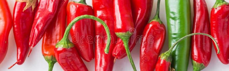 Μακρύ μαγειρικό έμβλημα τροφίμων Ώριμα φρέσκα οργανικά κόκκινα και πράσινα καυτά πιπέρια στο άσπρο μάρμαρο πετρών στοκ εικόνες με δικαίωμα ελεύθερης χρήσης