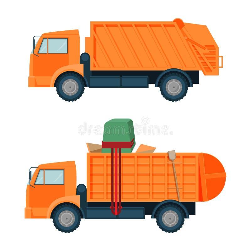 Μακρύ πορτοκαλί φορτηγό dumpster με το κενό και πλήρες σύνολο σωμάτων διανυσματική απεικόνιση