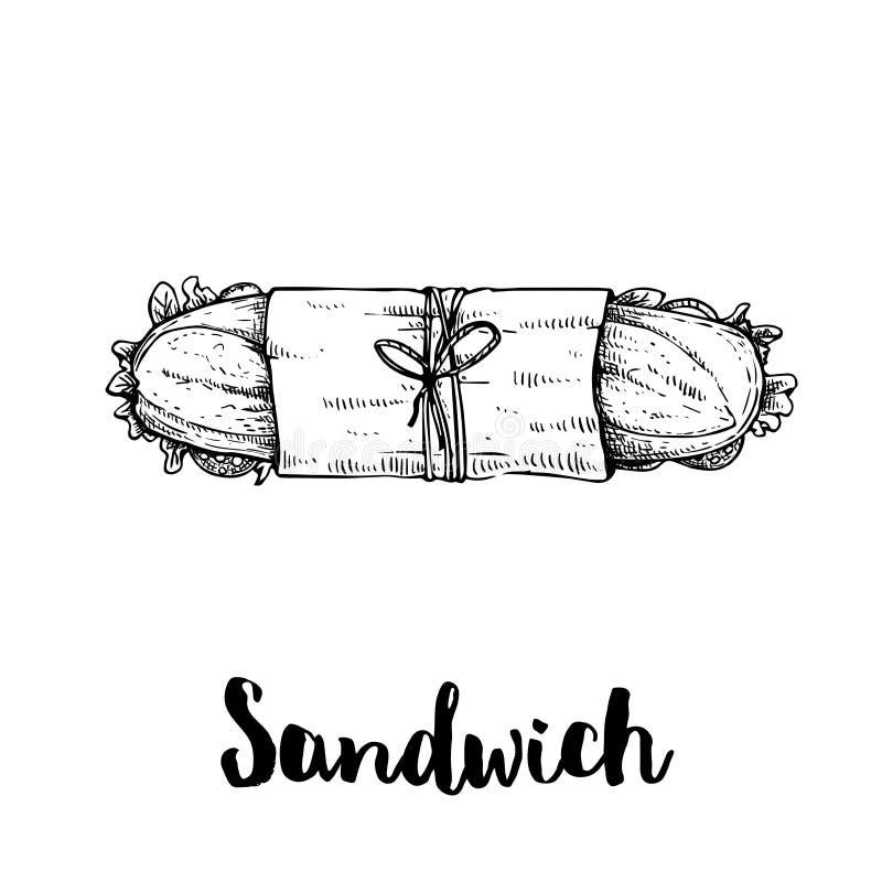 Μακρύ σάντουιτς με τις φέτες ζαμπόν, μπέϊκον, μαρουλιού, ντοματών και αγγουριών r Υποβρύχιο σάντουιτς στη συσκευασία και το σπάγγ διανυσματική απεικόνιση