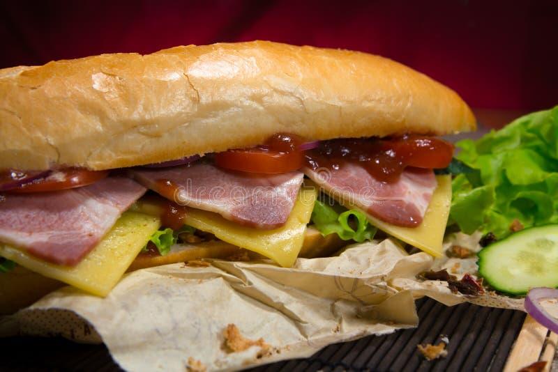 Μακρύ σάντουιτς με το κρέας, τα λαχανικά και τη σάλτσα σχαρών στοκ εικόνα