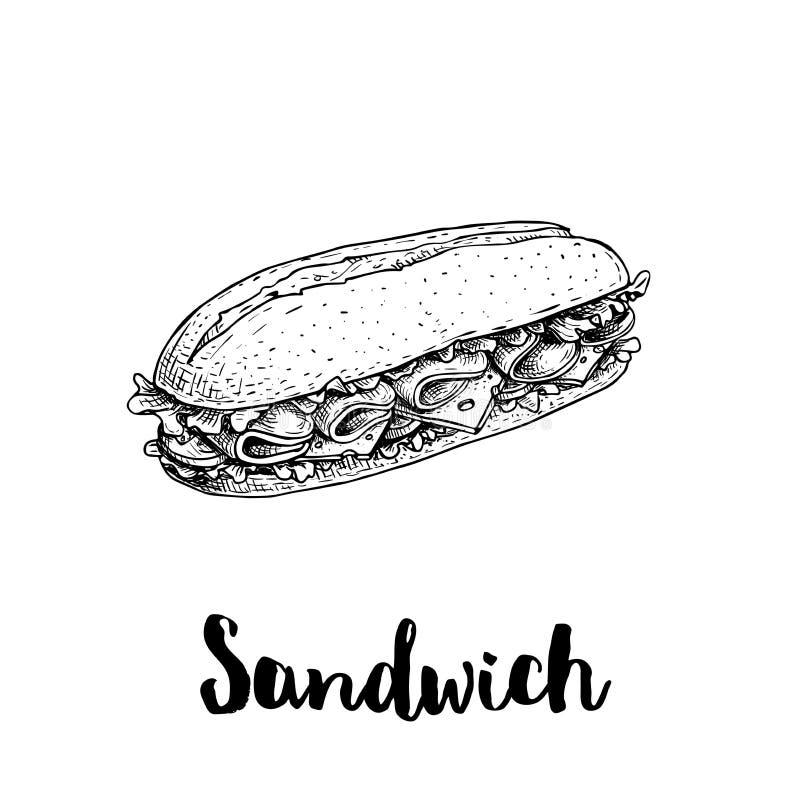 Μακρύ σάντουιτς chiabatta με τις φέτες ζαμπόν, το τυρί, τις ντομάτες και τα φύλλα μαρουλιού Συρμένο χέρι ύφος σκίτσων Σχέδιο γρήγ ελεύθερη απεικόνιση δικαιώματος