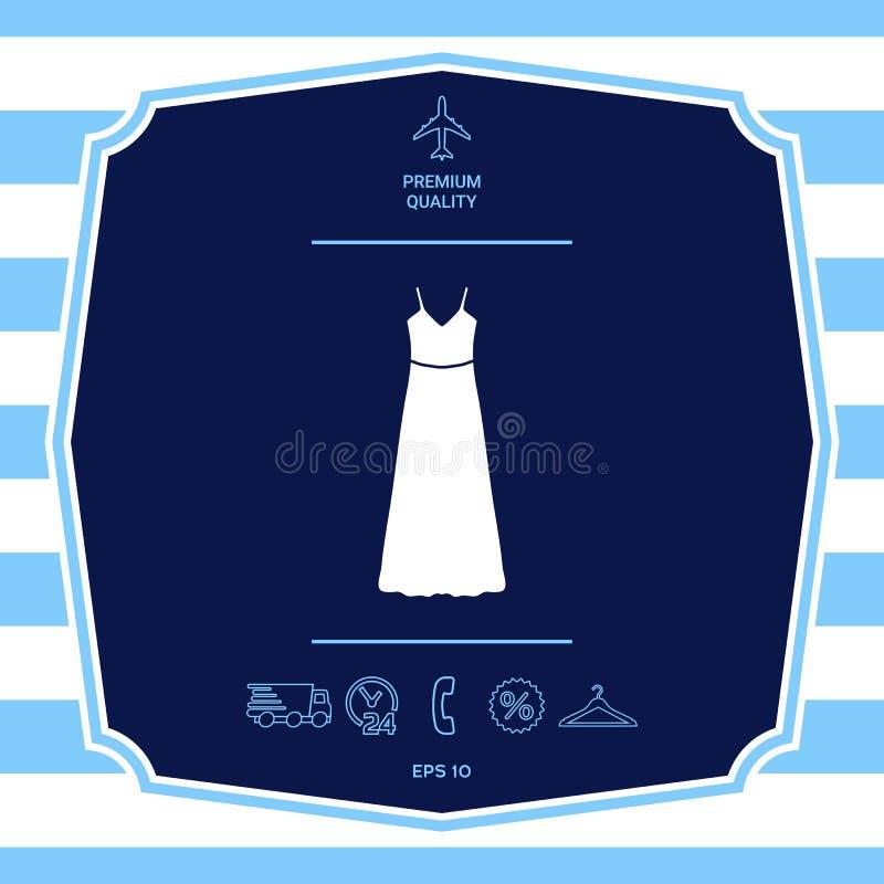 Μακρύ φόρεμα, που εξισώνει το φόρεμα ή sundress με τη ζώνη, η σκιαγραφία Στοιχείο επιλογών στο σχέδιο Ιστού στοκ εικόνες