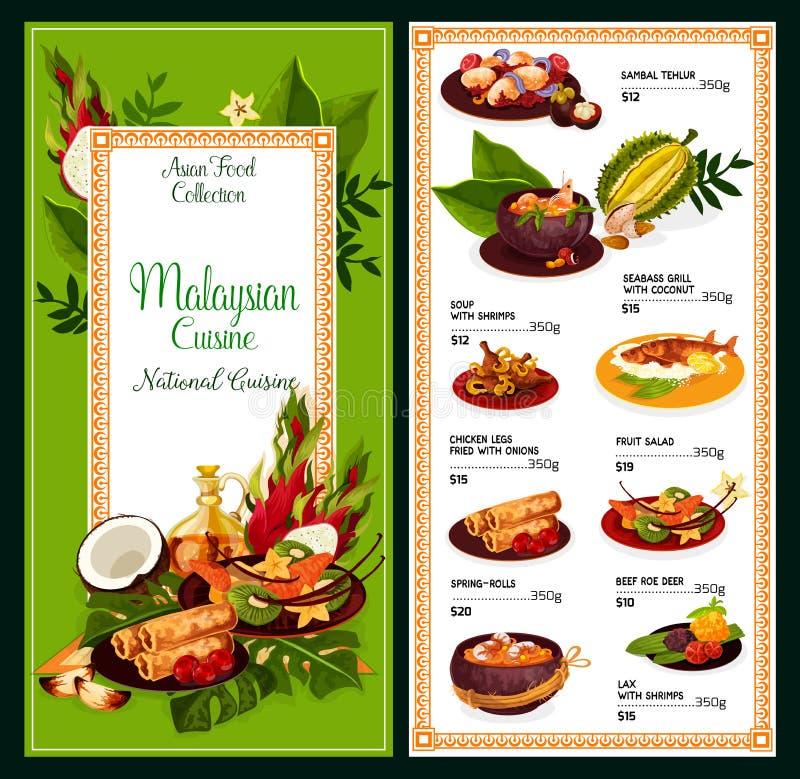 Μαλαισιανές επιλογές κουζίνας, παραδοσιακά ασιατικά τρόφιμα διανυσματική απεικόνιση
